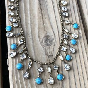 Ann Taylor Glass & Faux Turquoise Fringe Necklace!